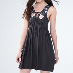 Aeropostale Fit & Flare Lace Up Embroidered Dress